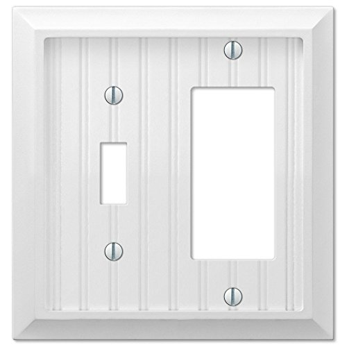 Cottage White Wood Single Toggle Switch and Single GFCI Decora Rocker Wall Plate Cover Combo