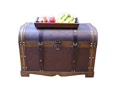 Styled Shopping Large Antique Victorian Wood Trunk Wooden Treasure Hope Chest ()