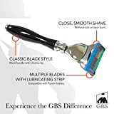 GBS 5 Blade Precision Fusion Razor Sleek Black Handle and Chrome accents Comfortable Wet Shave- 1 Fusion Head Blade included