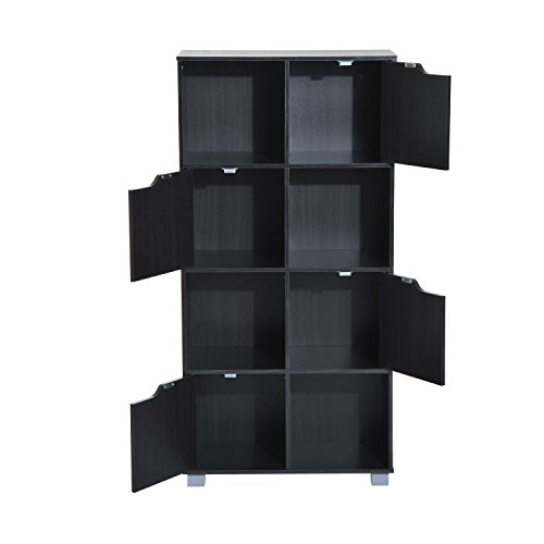 Bookcase Storage Shelf Organizer 8 Cube - Black - Mdf Office Bookcase