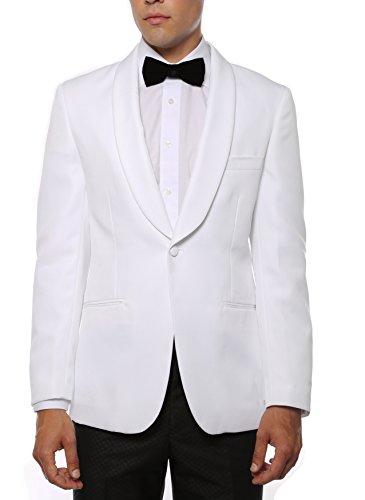 Collar Jacket Shawl Dinner (46R Zonettie Mens Gatsby White Super Slim Fit Shawl Tuxedo Blazer)