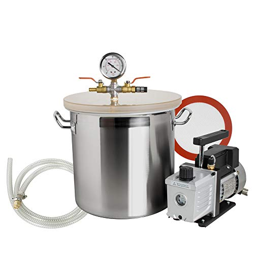 zinnor 5 Gallon Stainless Steel Vacuum Degassing Chamber - 250ml Vacuum Degassing Chamber Silicone Kit w/3 CFM Pump Hose (Ship from US/Canada) from Zinnor