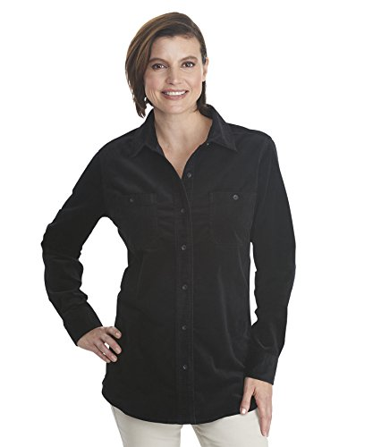 Woolrich Women's Stretch Cotton Corduroy Shirt (Medium, Black) Ladies Corduroy