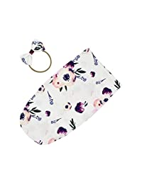 DPSKY Newborn Unisex Baby Receiving Blanket with Headband Set Floral Printed Baby Shower Swaddle