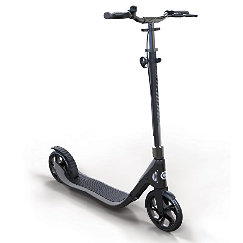 Globber Adult One Second Folding Adjustable Height Scooter with 205mm Wheels (Titanium Grey)