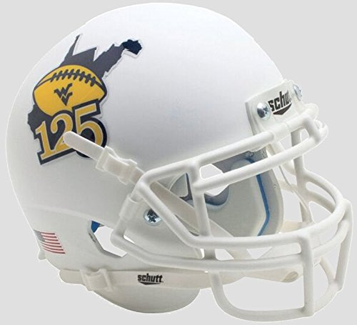 West Virginia Mountaineers 125 años de WVU Mini de fútbol casco
