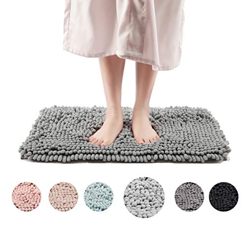 Freshmint Chenille Bath Rugs Extra Soft Fluffy and Absorbent Microfiber Shag Rug, Non-Slip Runner Carpet for Tub Bathroom Shower Mat, Machine-Washable Durable Thick Area Rugs (16.5″ x 24″, Light Gray)