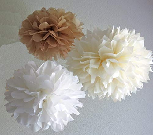 12PCS Mixed Cream Tan Brown White Paper Flowers - Fluffy Tissue Paper Pom Poms - Hanging Flower Ball for Baby Shower Decorations, Wedding Decor, Birthday Party Celebration