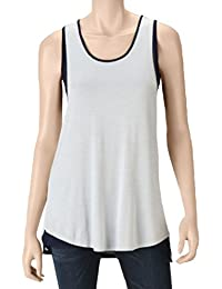 Womens Layered-Look Sleeveless Top, Silver/navy