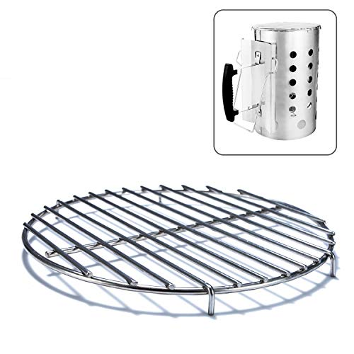 (Chimney-Mate Charcoal Starter Grill Grate- Turn Your Charcoal Chimney Into A Portable Grill- Fits On Top Of Most 7.5 Inch Diameter Chimneys - Portable Camping Grill Grate- 201 Stainless Steel- Chimney)