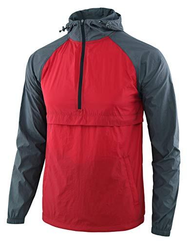 Estepoba Men's Lightweight Waterproof Zip Hoodie Rain Jacket Anorak Windbreaker Dark Red/Dark Gray L