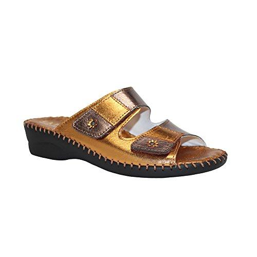 Bronze Multi Leather Footwear - La Plume Women's Jessica Sandal,Bronze,38 EU (US Women's 8 M)