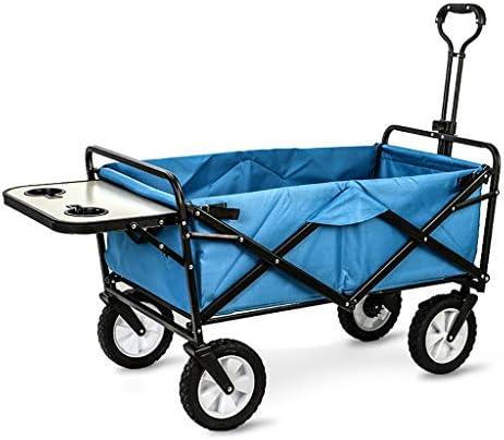 折りたたみビーチワゴン 収穫台車・キャリー 折りたたみ式ガーデントロリーカート 多機能ヘビーデューティーワゴン ために アウトドア キャンプ ピクニック 釣り ショッピングカート テーブルボードを使用すると、 積載量:80kg (Color : Dark green)