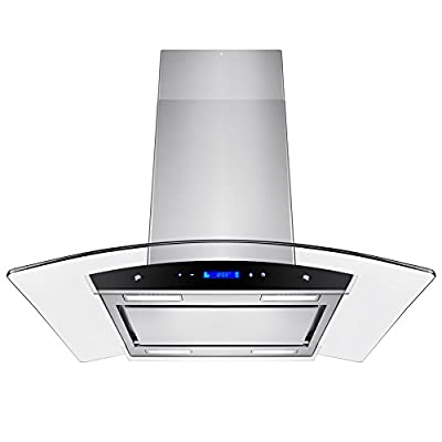 "Golden Vantage 36"" Stainless Steel Island Mount Powerful LED Display Touch Screen Control Cooking Fan Kitchen Range Hood"