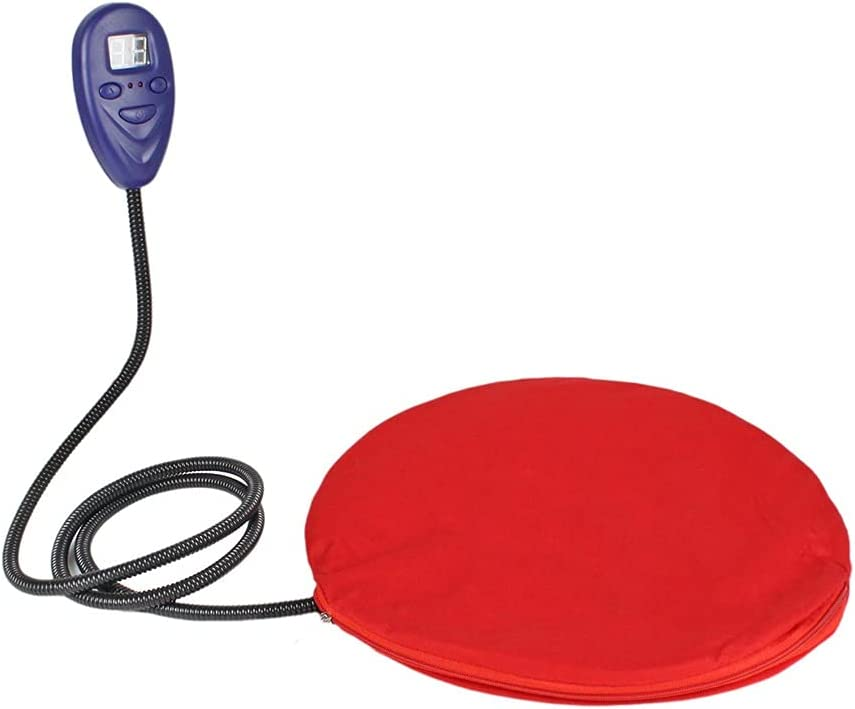 JHHXW Pet Heating Pad, Waterproof and Anti-bite, Suitable for Cat and Dog Thermostatic Electric Blanket, Circular Diameter 30cm, Red