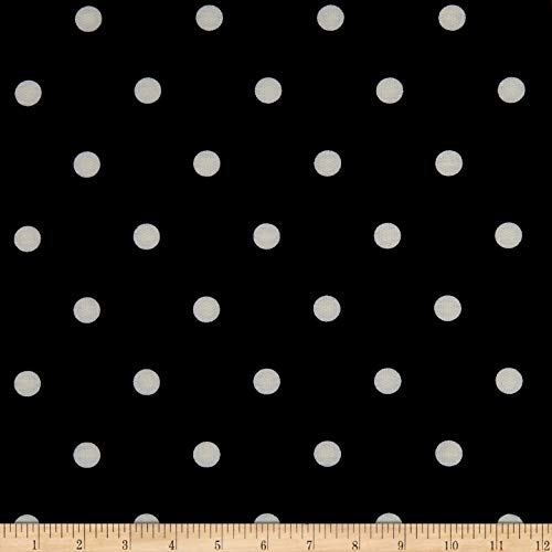 Fabric California Stretch French Terry Polka Dot Fabric, Black/White, Fabric By The Yard