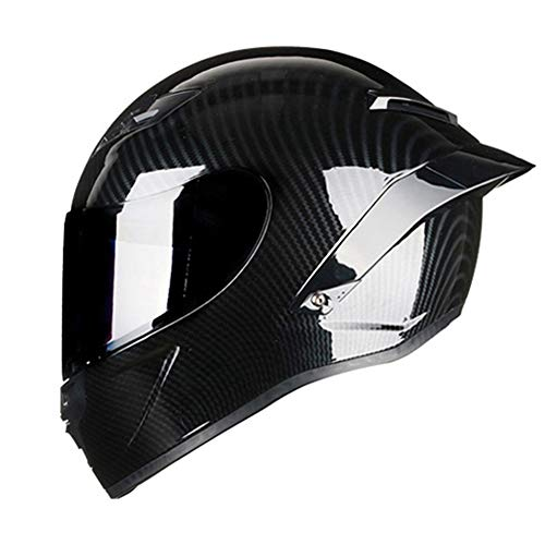 Woljay Full Face Motorcycle Helmet Racing Helmet Motocross Off Road Moto Street Bike Helmets (L, Carbon Fiber Gloss)