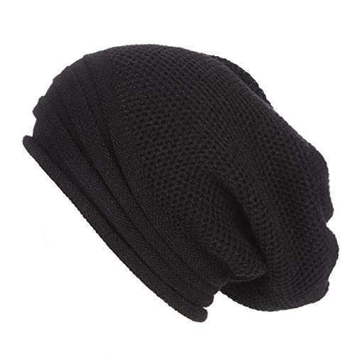- HGWXX7 Men Women Unisex Baggy Hip-hop Artificial Wool Crochet Knit Ski Caps Skull Hat Beanie(One Size,Black)
