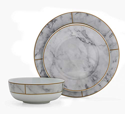 Dinnerware Set. 12 Piece Round Dinner Dish Kit For 4 Person. Kitchen Everyday Dishware, Dining & Salad Plates, Bowls. Porcelain Tableware With Faux Marble Finish, Dishwasher, Microwave Safe (White)