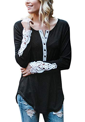 luvamia Women's Casual Crochet Henley Shirts Long Sleeve Loose Button Blouse Tops Black Size X-Large (US 16-18)