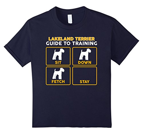 unisex-child Lakeland Terrier T-Shirt | Funny Guide To Training 12 Navy