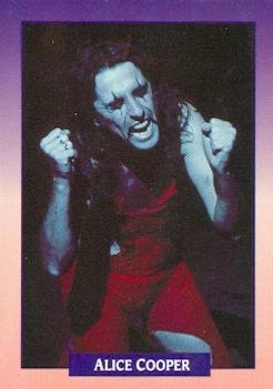 (Alice Cooper trading card (The Godfather of Shock Rock) 1991 Brockum Rock Music #165 Checklist)