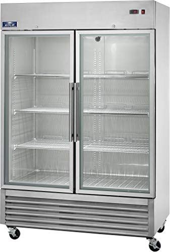 Arctic Air AGR49 Two Door Glass Reach-in Refrigerators, 2 Doors 6 Shelves, 33DF to 41DF, 49 cu. ft, Stainless ()