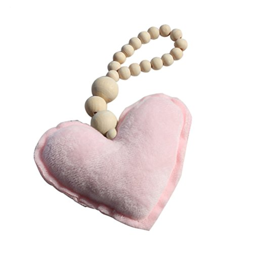 preliked Nordic Style Star Heart Wooden Bead String Tassel Pendant Wall Hanging Ornament size Heart (Beaded Heart Ornament)