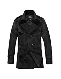Partiss Mens Casual Slim Fit Stylish Coat with Belt