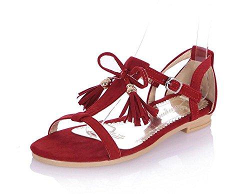 Zapatos Sandalias PU Mujer Nuevo Toe Matte Femenino 2017 red Peep Pajarita Borla Grande Sandalias Tamaño MUJER XfCwx