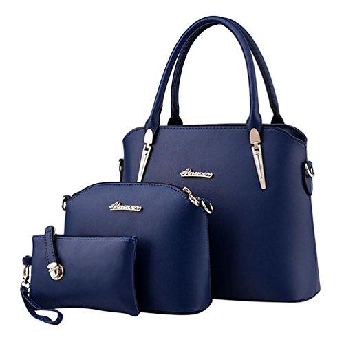 Baymate Elegante da Donna Retro Handbag Shoulder Bag Tote Bag 3 Pezzi Zaffiro