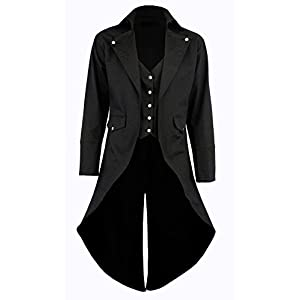 Darkrock Men's Cotton Twill Steampunk Tailcoat Jacket Goth Victorian Coat/Trench