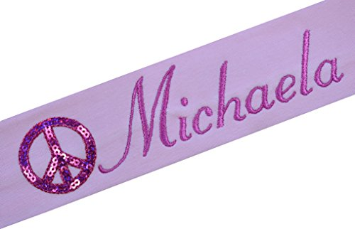 Personalized Embroidered SEQUIN PEACE SIGN Cotton Stretch Headband YOUR CUSTOM NAME By Funny Girl Designs ( Light Pink Band with Hot Pink Thread - Pink Code Shipping 25 Free