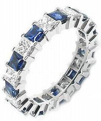14k Shared Prong - 14k Shared Prong 2.00 Carat Sapphire & Diamond Eternity Band - Size 10