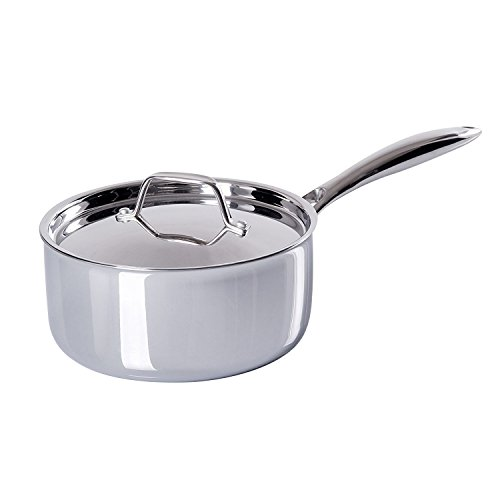 Secura Duxtop Whole-Clad Tri-Ply Stainless Steel Induction Ready Premium Cookware with Lid, 3 Quart by Secura