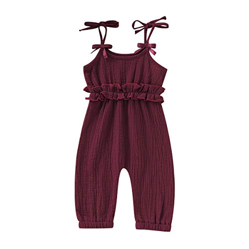 Hopeful Infant Toddler Baby Girl Clothes Cotton Ruffle Romper Jumpsuit Halter Bodysuit Playsuit Summer Outfit (Wine Red, 90(12-18 ()