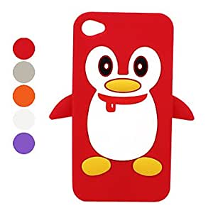 Penguin Silicone Case for iPhone 4 and 4S (Assorted Colors) --- COLOR:Purple