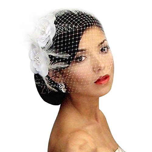 Enjoybeauty White Bridal Birdcage Veil Flower Crystal Wedding Netting Bridal Vei by enjoybeauty