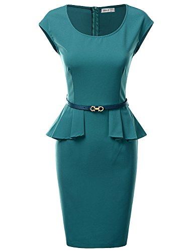 Doublju Women Cap Sleeve Round Neck Belted Sheath Peplum Dress Teal L