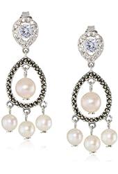 "Judith Jack ""Pearlette"" Sterling Silver, Marcasite and Fresh Water Pearl Mini Chandelier Drop Earrings"