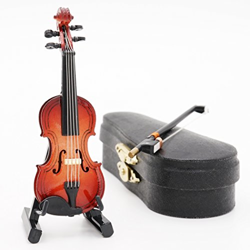 Odoria 1:12 Violin with Stand Bow and Case Wooden Musical Instrument Miniaure Dollhouse (Del Violin)
