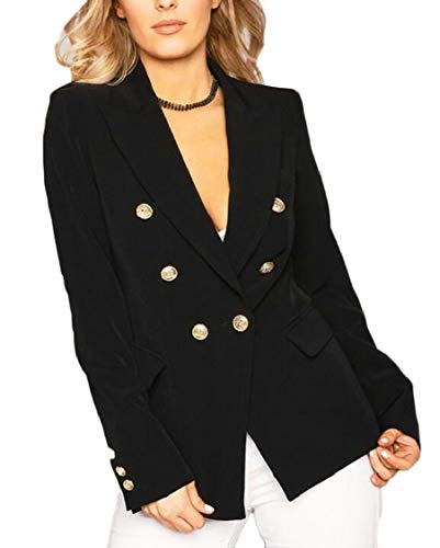 XQS Women's Gold Buttons Slim Fit V Neck Double Breasted Blazer Coat Black XS