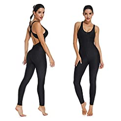 Seasum Women Texture Bodysuit Sleevesless Sport One Piece Backless Sexy Slimming Bodycon Rompers Jumpsuit