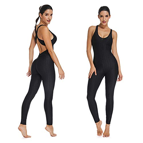 SEASUM Women Texture Bodysuit Sleevesless Sport One-Piece Backless Sexy Slimming Bodycon Rompers Jumpsuit XL Black