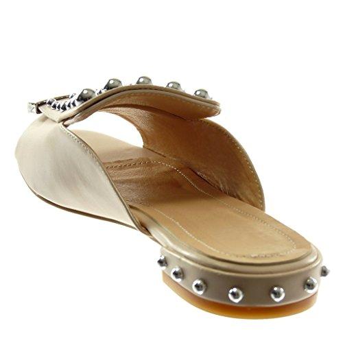 Nude on Clouté Chaussure Femme Mode Angkorly Mule 2 Métallique Sandale Perle Cm Bloc Talon Slip FXB68Uqw