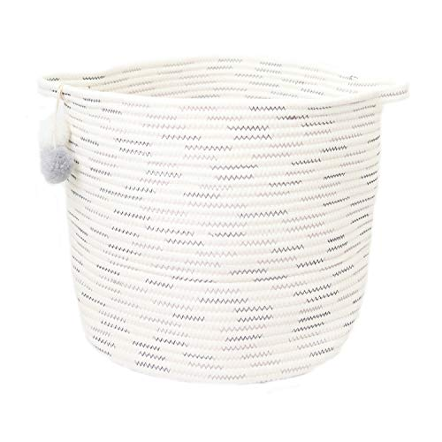 Laundry and Storage Cotton Rope Basket for Laundry, Toys, Baby Boys or Girls Room | Woven Bins with Pom Poms| Use as Hamper, Toy and Storage Basket