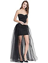 Women's 4 Layers Mesh Tutu Tulle Long Detachable Train Skirt Overskirt for Wedding Party