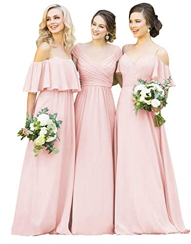 (Yilisclothing Women's Spaghetti Strap Ruched Bodice V-Neck Formal Party Dress A-line Bridesmaid Dress Long Blush Pink-C US14)