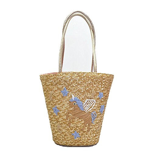 Playa Moon Paja Hombro Blue White Starry Wangxn Artificial Bolso Mujer De Paquete Bolsa Punto XCw4xBzq