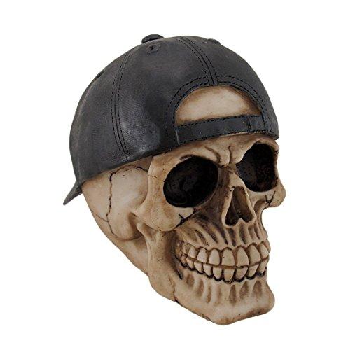 Resin Statues Su-93 Skull And Crossbones Backward Baseball Cap Skull Statue 8 X 5.5 X 4.5 Inches Off-White